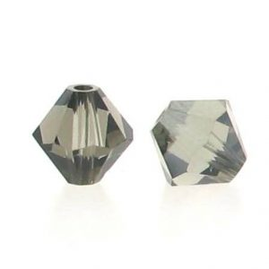 5301/5328 - 6mm Swarovski Bicone Crystal Bead - Black Diamond Satin