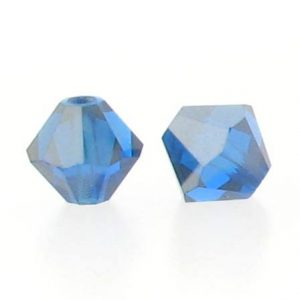5301/5328 - 6mm Swarovski Bicone Crystal Bead - Capri Blue Satin