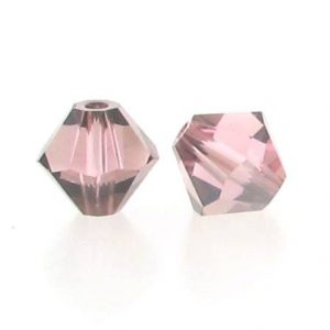 5301/5328 - 6mm Swarovski Bicone Crystal Bead - Light Rose Satin